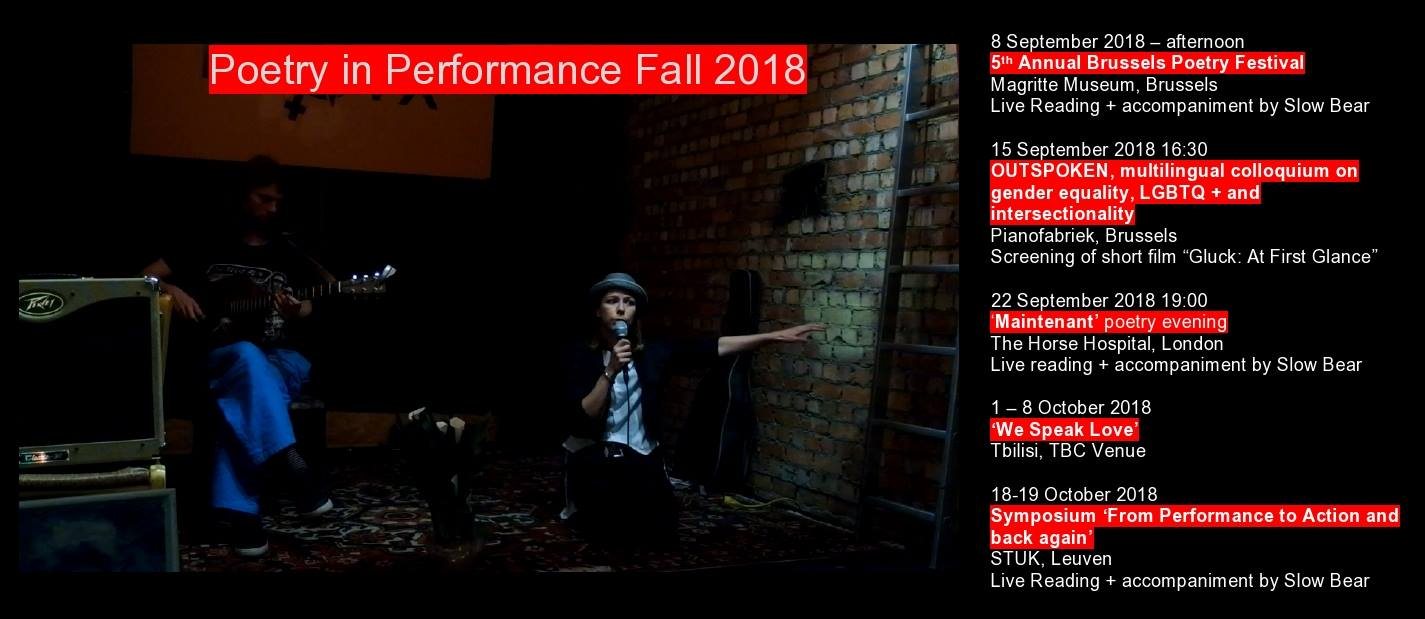 Marina Kazakova Fall 2018 poetry performance tour, with musical accompaniment by Slow Bear
